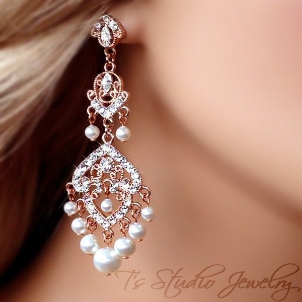 Rose Gold Bridal Chandelier Earrings