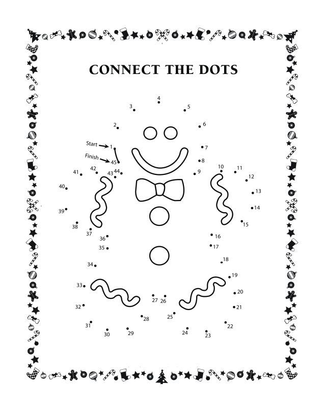 Connect the dots activity sheets Gingerbread man
