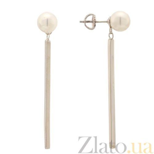 Серебряные серьги-подвески с жемчугом Эльмира