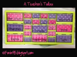 Teacher's toolbox- I guess this is going around but somehow I've missed it. Love having a cute way to organize all those little things cluttering my desk!