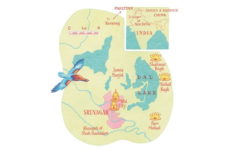 An illustrated map of Kashmir, India, by Neil Gower
