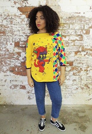 Vintage+Yellow+Kitsch+Cat+print+batwing+T-shirt+