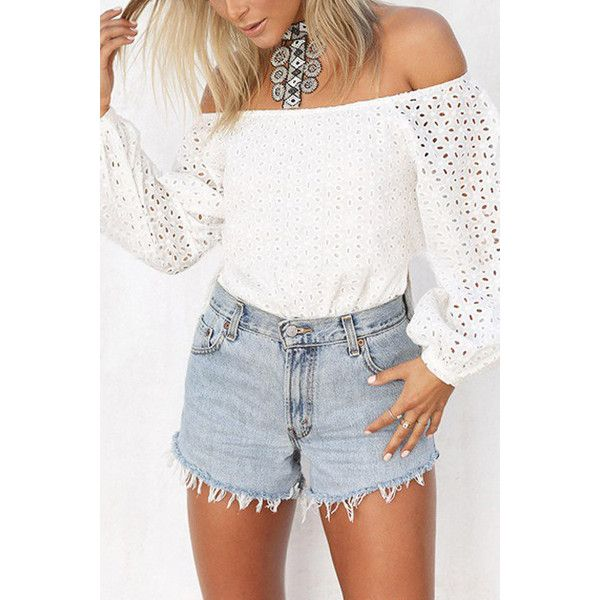 Yoins White Off Shoulder Hollow Out Long Sleeve Top ($20) ❤ liked on Polyvore featuring tops, white, off shoulder tops, long length tops, white off shoulder top, long off the shoulder tops and long tops