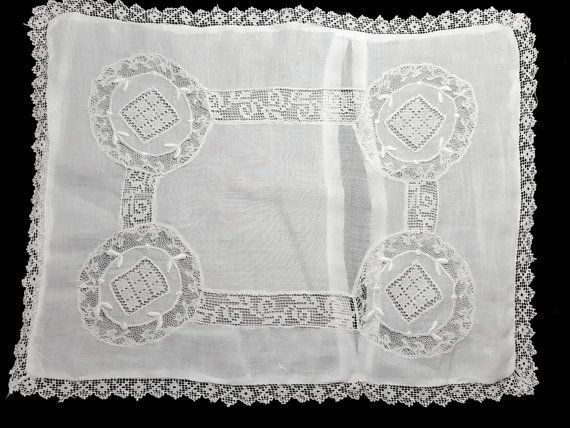 NORMANDY LACE PILLOWCASE, antique Victorian boudoir sham with assorted lace types/ Sheer white cotton w pretty design and trim/ pillow decor