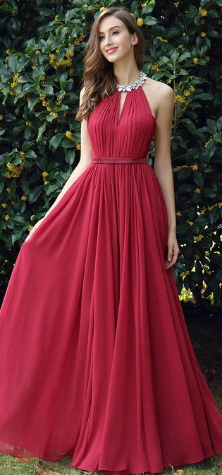 usd edressit burgundy pleated halter formal evening dress vestidos de