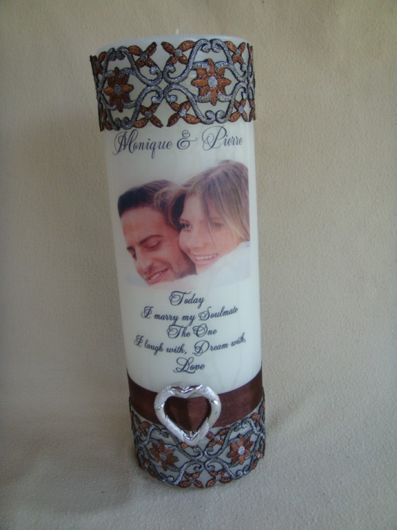 For the wedding couple! Personalised text candle with photo and wording, customised to your preference.