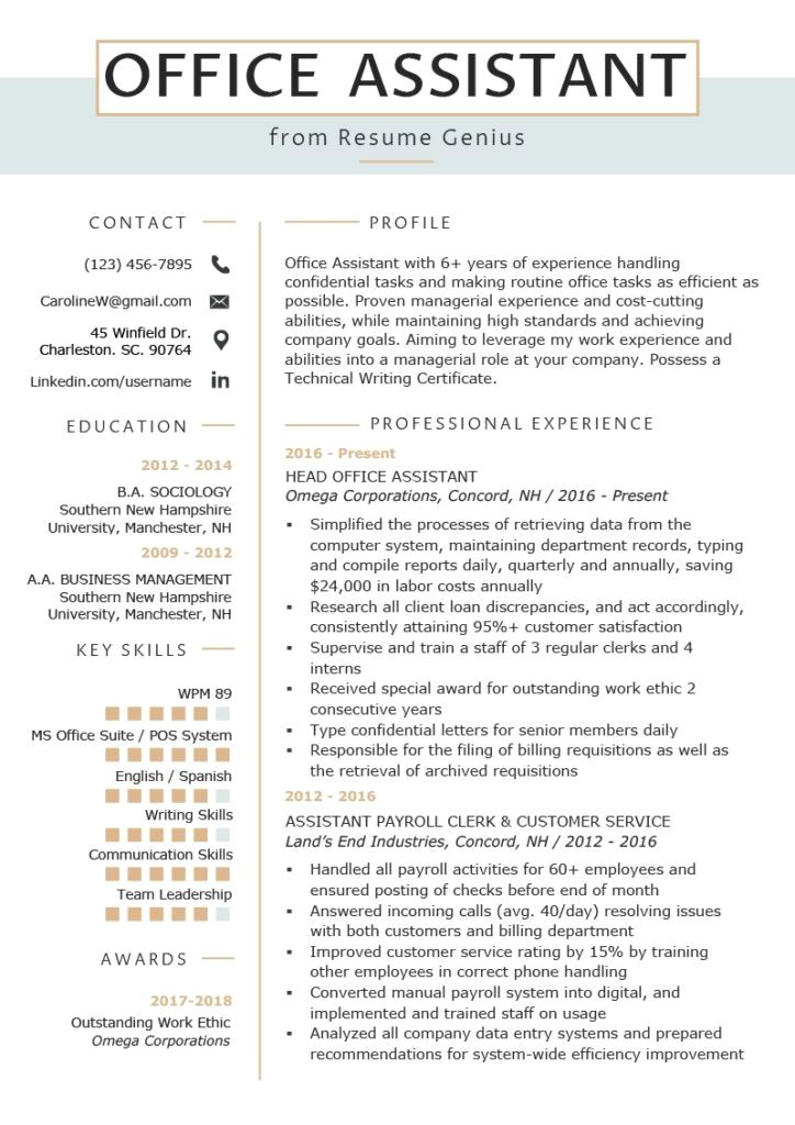 Resume Example Cv Example Professional And Creative Resume Design Cover Letter For Ms Word Office Assistant Resume Resume Skills Resume Writing Tips