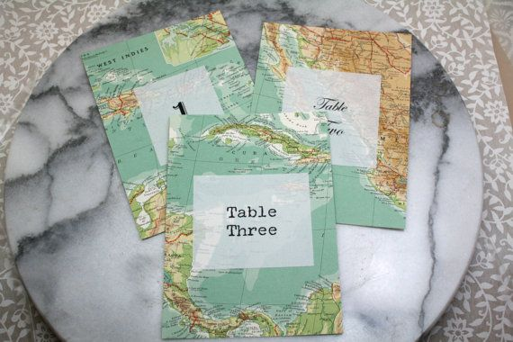 Travel Theme Table Numbers