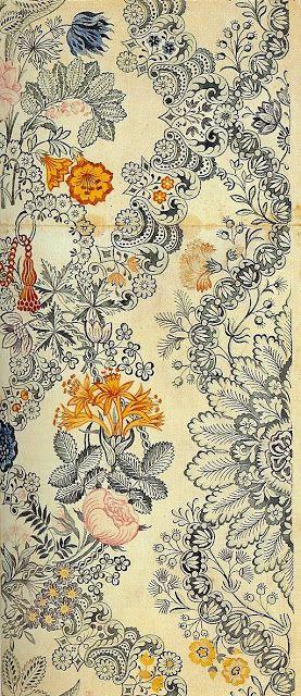 Silk design by Anna Maria Garthwaite, ca. 1730