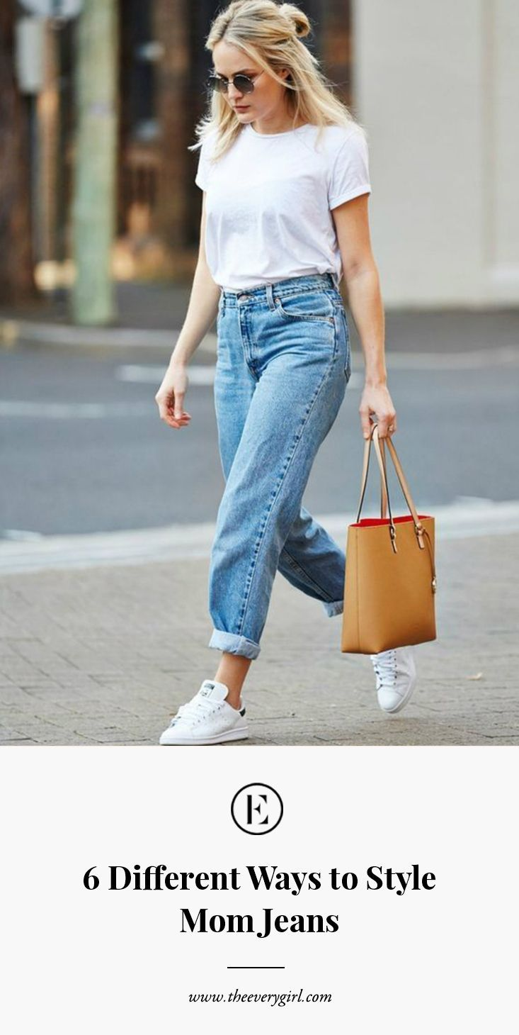 6 different ways to style your mom jeans tshirt outfits