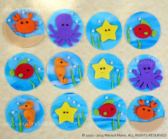 12 REEF CREATURES Fondant Cupcake Toppers por SWEETandEDIBLE