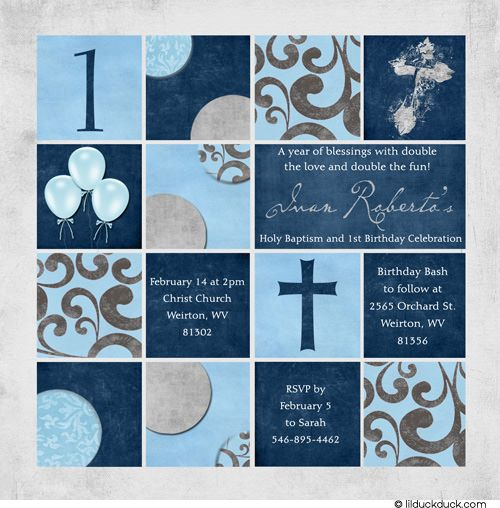 baptism and first birthday | Crosses Baby Celebration Invitation - Balloons 1st Birthday & Baptism