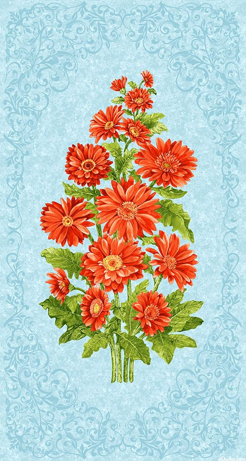 """Simply Daisy - Gerbera Bouquet - 24"""" x 44"""" PANEL - Quilt Fabrics from www.eQuilter.com"""
