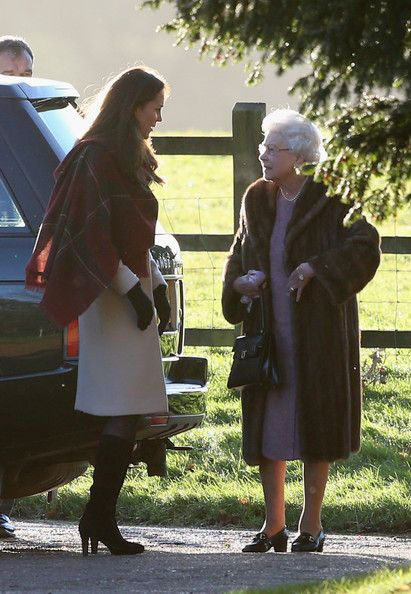 Queen Elizabeth II and Kate Middleton - The Royal Family Attends Christmas Day Service