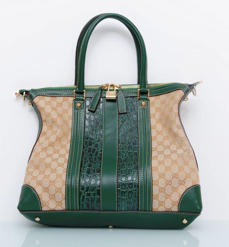 Сумка Gucci из натуральной кожи с выделкой под крокодила зеленого цвета 40х32х12 см #18832