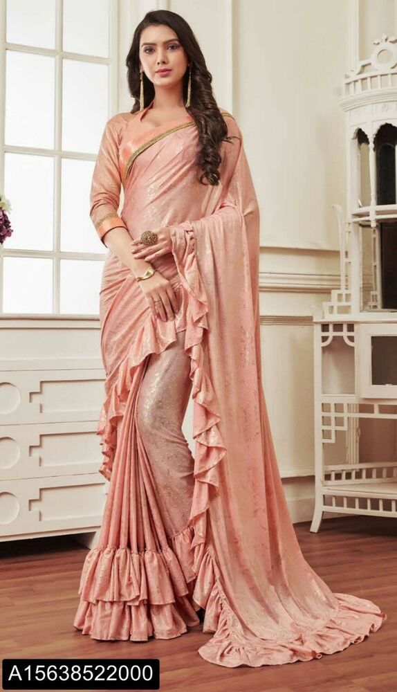 1c209cc934a99c Buy Peach color Silk Saree With Silk Blouse Online -. Latest Frill Ruffle  Border Saree Blouse indian wedding readymade free stitching