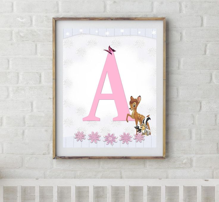 Bambi, Bambi Letters, Letter A, Alphabet Letter A, Bambi Nursery, Baby Initial, Initial Print, Woodland Letter A, Disney Nursery Prints
