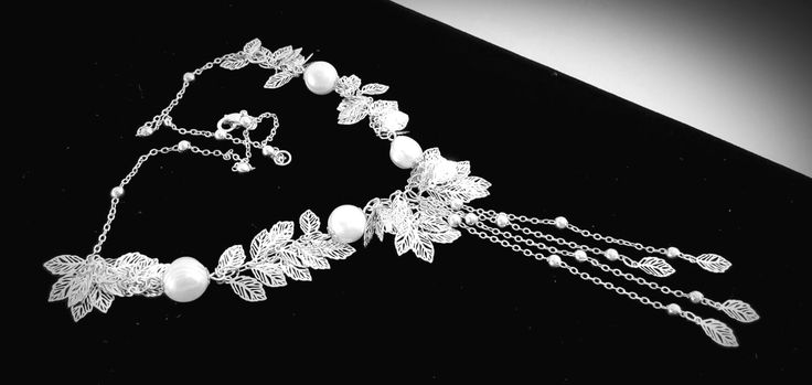 Sterling Silver Leaves Necklace Freshwater White Pearls, Bridal Party Wedding Bridesmaid Jewelry Christmas Birthday Valentine's Day Gift by GECHELINE on Etsy