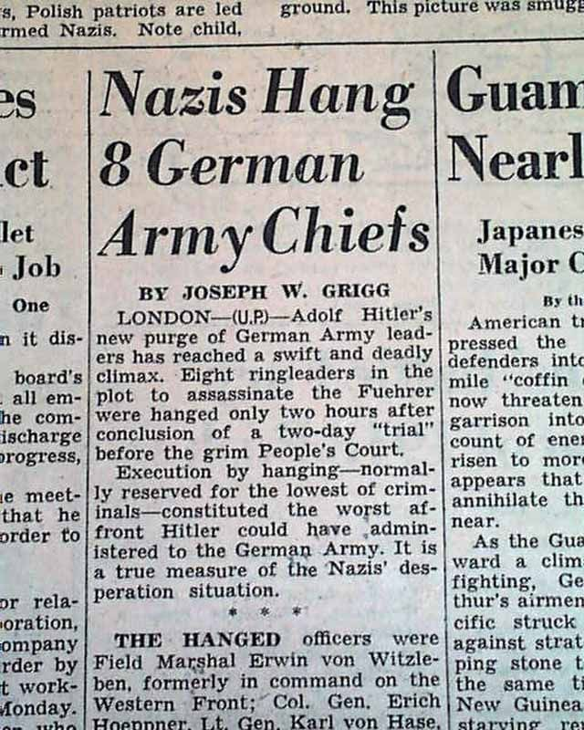 A newspaper article following the attempt on Adolf Hitler's life (Operation Valkyrie).