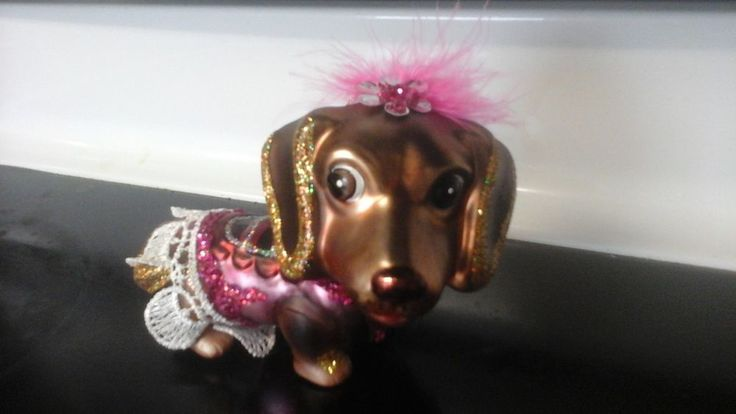 Specialty Blown Glass Dachshund Christmas Tree Ornament Doxin Dog Ballerina