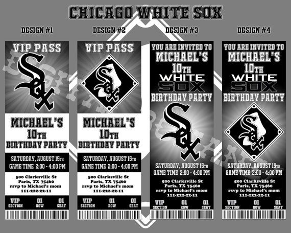White Sox Baseball Invitation Baseball Birthday by DigitalBonanza