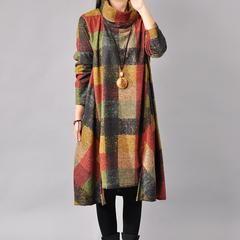 Women cotton loose autumn dress - M(US8-10) / September 10
