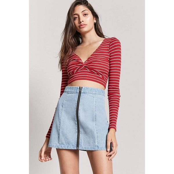Forever21 Zip-Front Denim Mini Skirt (€8,05) ❤ liked on Polyvore featuring skirts, mini skirts, light denim, a-line skirts, full length denim skirt, a-line denim skirts, blue a line skirt and blue skirt