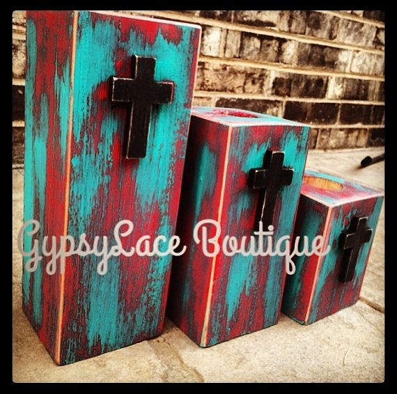 Rustic Western Turquoise and Red Tealight Candle Holders with Crosses