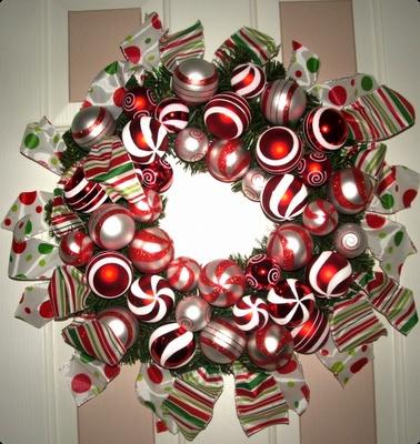 ribbon and ornament wreath