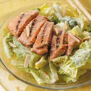Yummy salmon marinade for caesar salad. Tastes yummy enough to eat the salmon straight out the skillet.