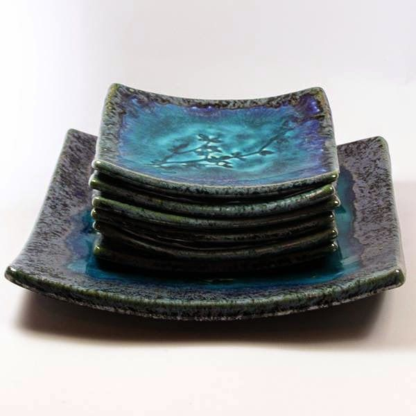 Ceramika z Artlantydy...: Talerze ceramiczne turkusowe komplet