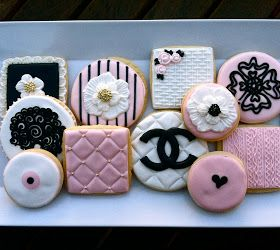 High Fashion Cookies~                     By oh sugar, pink, chanel, quilting, cable knit, basket weave, royal icing transfers and brush embroidery