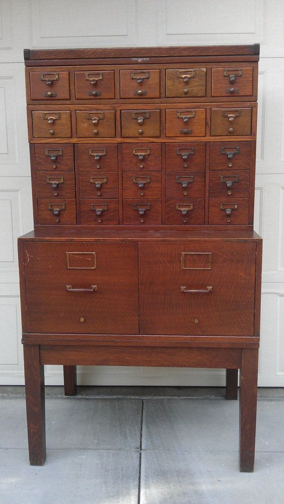 Great Incredibly Handsome Antique Library Card Catalog / Apothecary Style Chest  Cabinet Storage Rustic Antique Oak