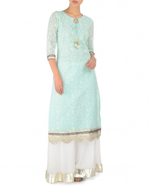 mint green cotton kurta with chikankari embriodery , and laces combined with white crinkled kalidar sharara with gota border thecitrine@yahoo.com shop online :http://www.exclusively.com/designers/citrine-by-poonam-bajaj