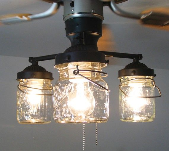 Mason Jar Ceiling Fan this will be in my house post renovation!