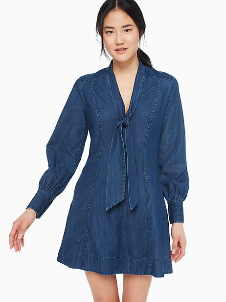 6bc52f3f52126 Tie-neck denim dress in 2019 | Products | Dresses, Tie dress, Denim