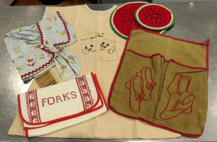 Farmhouse Textile Lot; Child's Bonnet & Smock, Forks & Shoe Holder, 2 Hot Mats