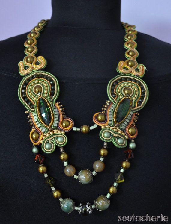 Golden-Green Soutache Necklace
