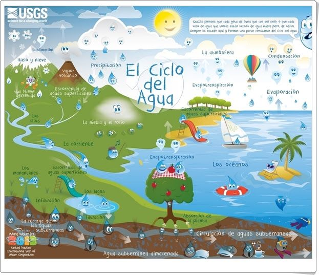 """""""El Ciclo del Agua"""", de usgs.gov, es una muy buen lámina sobre el ciclo del agua donde se muestran y explican todas las formas de los estados del agua y todos los modos de cambio de estado."""