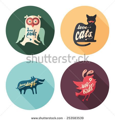 Set of love animals flat round icons with long shadows. #love #loveillustration #flaticons #vectoricons #flatdesign