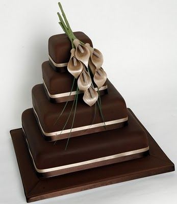 Chocolate wedding cake...simple, elegant, classy and I love the square tiers rather than traditional round