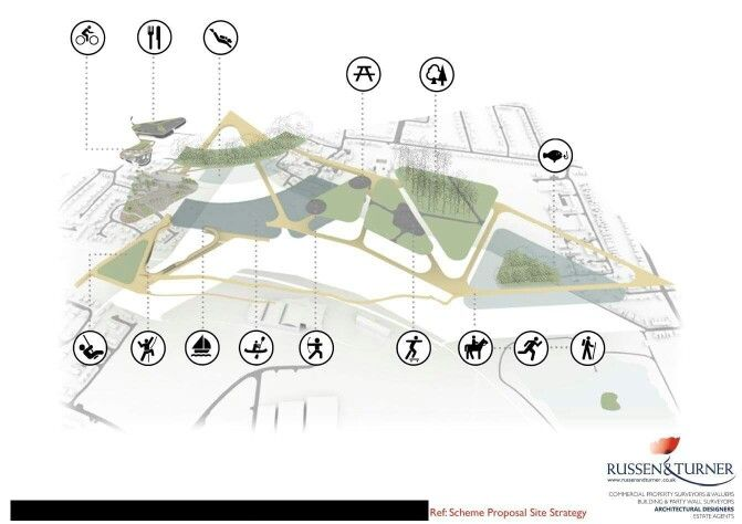 Feasibility images for outdoor leisure and recreational facility in Cambridge, UK.