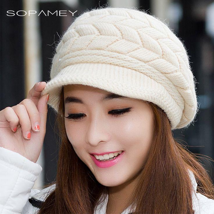 SOPAMEY Women Cap for Fall Winter Beanies Knitted Hat Snapback Cap Lady Female Brim Stripe Skullies Women Hats Gorro 2017 New #Affiliate