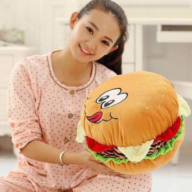 Hamburger Sleeping Cushion Pillow Kids Soft Food Hamburgers Simulation Toys Dance Props Size:30cm;40cm.Free shipping worldwide.