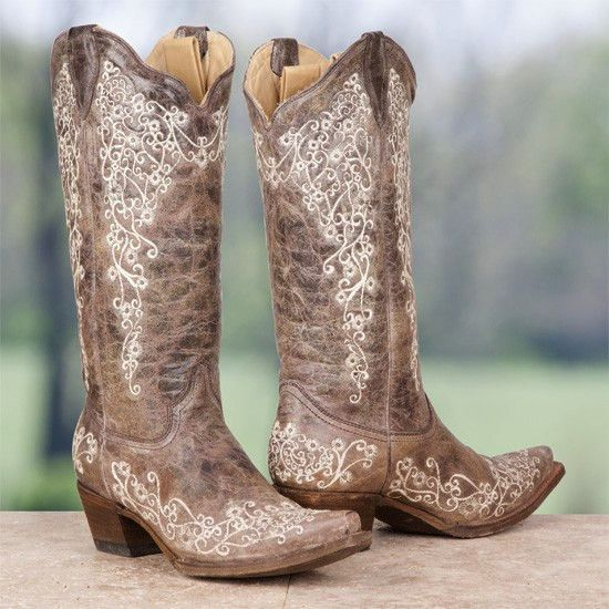 Corral Ladies Brown Crater Bone Embroidery Snip Toe Boot A1094 | Cowby Boots and Western Clothing | Painted Cowgirl Western Store