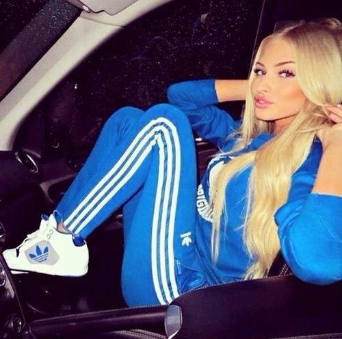 Blue Adidas originals tracksuit