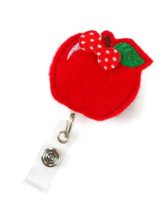 Red Apple Retractable ID Badge Reel Name Badge Holder