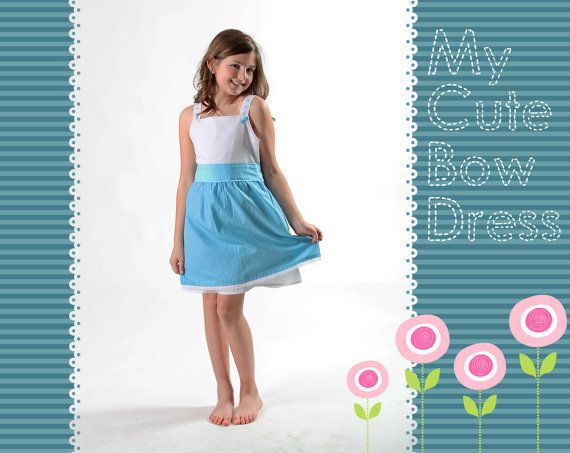 Cute light blue girl's dress with bow by LaLoOLa on Etsy
