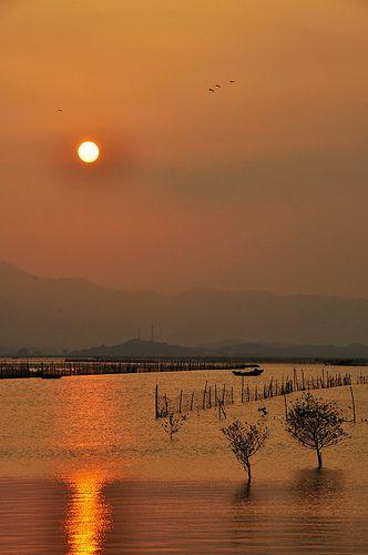 sunset, HuiDong, Gunagdong, China