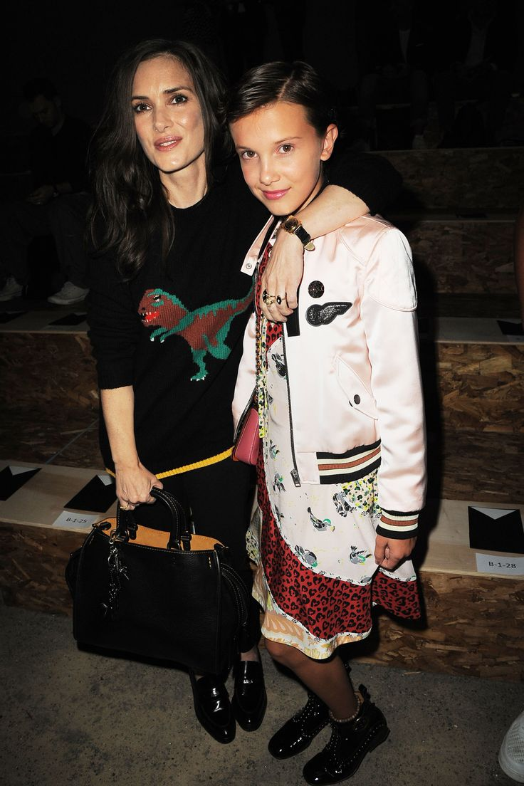 Millie Bobby Brown and Winona Ryder at the New York Fashion Week (2016)